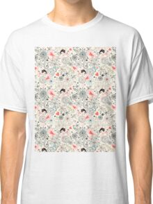 floral pattern with hearts and the elephants  Classic T-Shirt