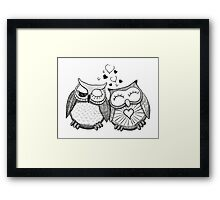 Cute black and white owl couple Framed Print