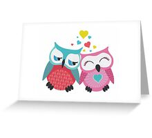 Cute owl couple with hearts Greeting Card