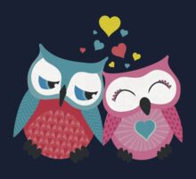 Cute owl couple with hearts One Piece - Short Sleeve