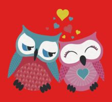 Cute owl couple with hearts One Piece - Long Sleeve