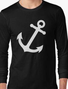 Simple White vector anchor Long Sleeve T-Shirt