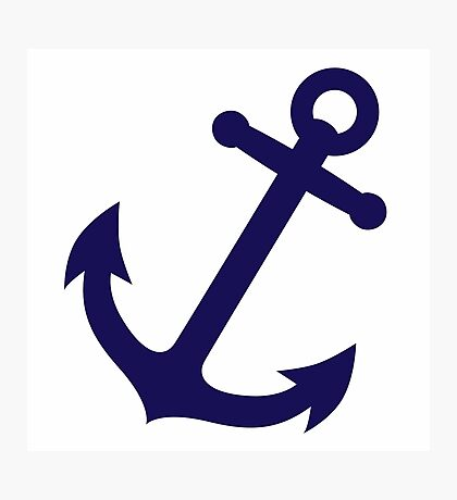 Navy Blue Anchor Photographic Print