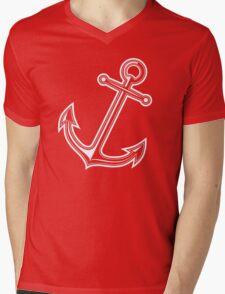 White vintage anchor Mens V-Neck T-Shirt