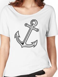 Black vintage anchor Women's Relaxed Fit T-Shirt