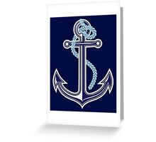 White and blue anchor with rope Greeting Card