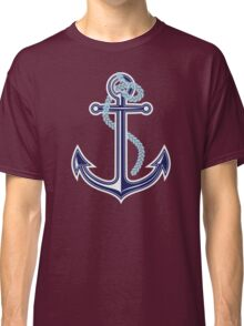 White and blue anchor with rope Classic T-Shirt