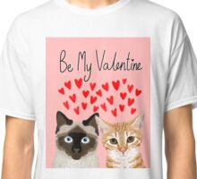 Cat valentines tabby cat siamese cat lady gifts cute kitten heart love Classic T-Shirt
