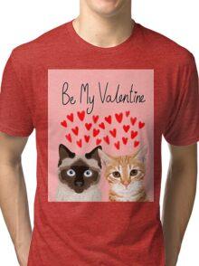 Cat valentines tabby cat siamese cat lady gifts cute kitten heart love Tri-blend T-Shirt