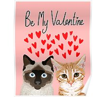 Cat valentines tabby cat siamese cat lady gifts cute kitten heart love Poster