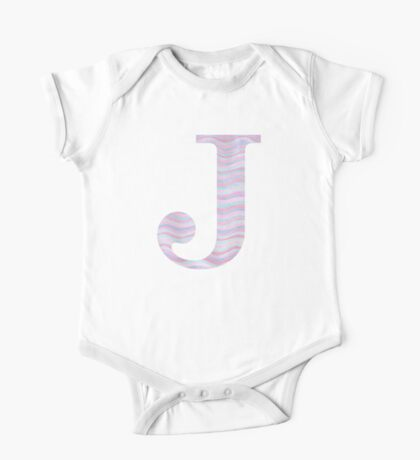 Initial J Rose Quartz And Serenity Pink Blue Wavy Lines One Piece - Short Sleeve