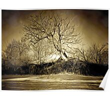A digital painting in an old print style of a Romanian Winter scene Poster