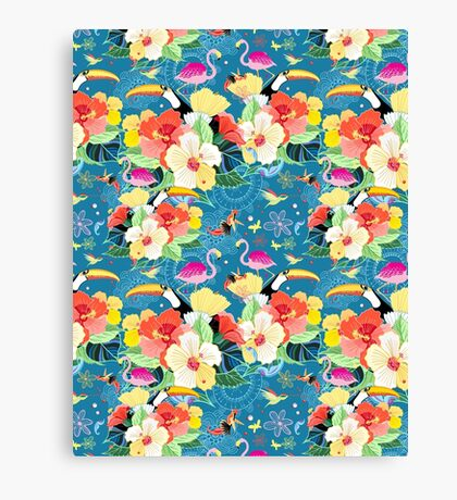 tropical pattern with birds Canvas Print