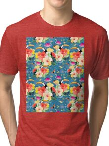 tropical pattern with birds Tri-blend T-Shirt