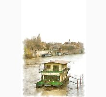 Rome: Tiber River barge and urban landscape Classic T-Shirt
