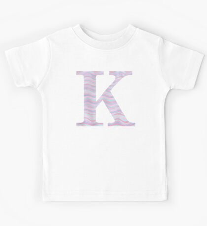 Initial K Rose Quartz And Serenity Pink Blue Wavy Lines Kids Tee