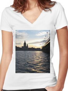 The Danube in Vienna Women's Fitted V-Neck T-Shirt