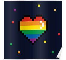 pride 8 bit heart Poster