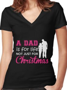 my daddy Women's Fitted V-Neck T-Shirt