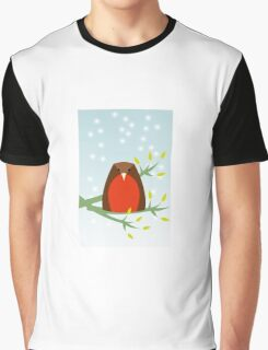Robin in the snow Graphic T-Shirt