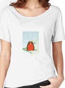 Robin in the snow Women's Relaxed Fit T-Shirt