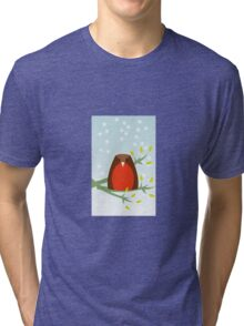 Robin in the snow Tri-blend T-Shirt