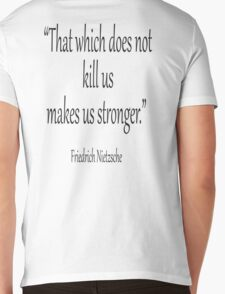 "DEATH, kill, Friedrich, Nietzsche, Strong, Strength, Kill, ""That which does not kill us makes us stronger."" Black on White Mens V-Neck T-Shirt"