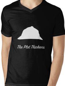 """Sherlock Holmes """"The Plot Thickens"""" (White) Mens V-Neck T-Shirt"""