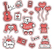 Set of stickers with messages of love Photographic Print