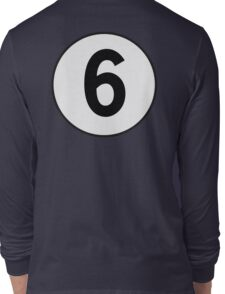 6, Sixth, Number Six, Number 6, Old School, Racing, Six, Competition, on Navy Blue Long Sleeve T-Shirt