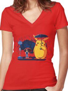 My Neighbour Pikachu Women's Fitted V-Neck T-Shirt