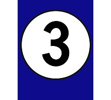 3, Three, Third, Number Three, Number 3, Racing, Competition, on Navy Blue Photographic Print