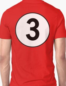 3, Three, Third, Number Three, Number 3, Racing, Competition, on Navy Blue T-Shirt