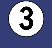 3, Three, Third, Number Three, Number 3, Racing, Competition, on Navy Blue Unisex T-Shirt