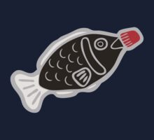 Sushi Soy Fish Pattern in Blue One Piece - Short Sleeve