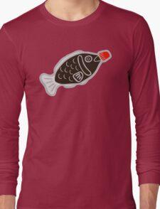 Sushi Soy Fish Pattern in Blue Long Sleeve T-Shirt
