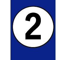 2, Two, Second, Number Two, Number 2, Racing, Competition, on Navy Blue Photographic Print