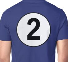 2, Two, Second, Number Two, Number 2, Racing, Competition, on Navy Blue Unisex T-Shirt