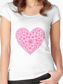 Pink flowers heart Women's Fitted Scoop T-Shirt