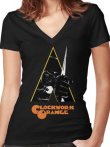 A Clockwork Orange (Airbrushed) Women's Fitted V-Neck T-Shirt