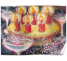 Birthday Cake with six candles Poster