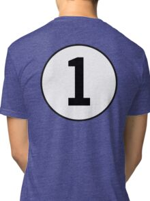 1, First, Number One, ONE, Number 1, Racing, Numero Uno, British Racing Green, Win, Winner Tri-blend T-Shirt