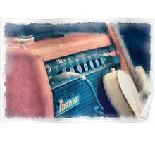 Vintage Guitar Amp Watercolor Poster