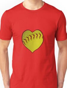 Love Softball With My Heart Unisex T-Shirt