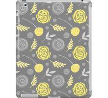 Floral yellow grey iPad Case/Skin