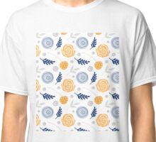 Floral orange grey blue Classic T-Shirt