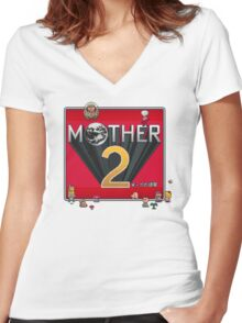 Alternative Mother 2 / Earthbound Title Screen Women's Fitted V-Neck T-Shirt