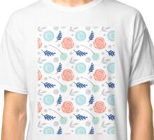 Floral blue pink green Classic T-Shirt