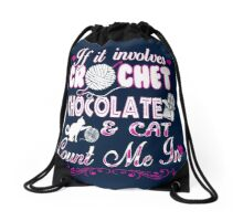 CROCHET-CHOCOLATE-CAT Drawstring Bag