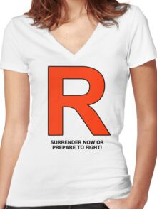 Team Rocket (Surrender Now or Prepare to Fight!) Women's Fitted V-Neck T-Shirt